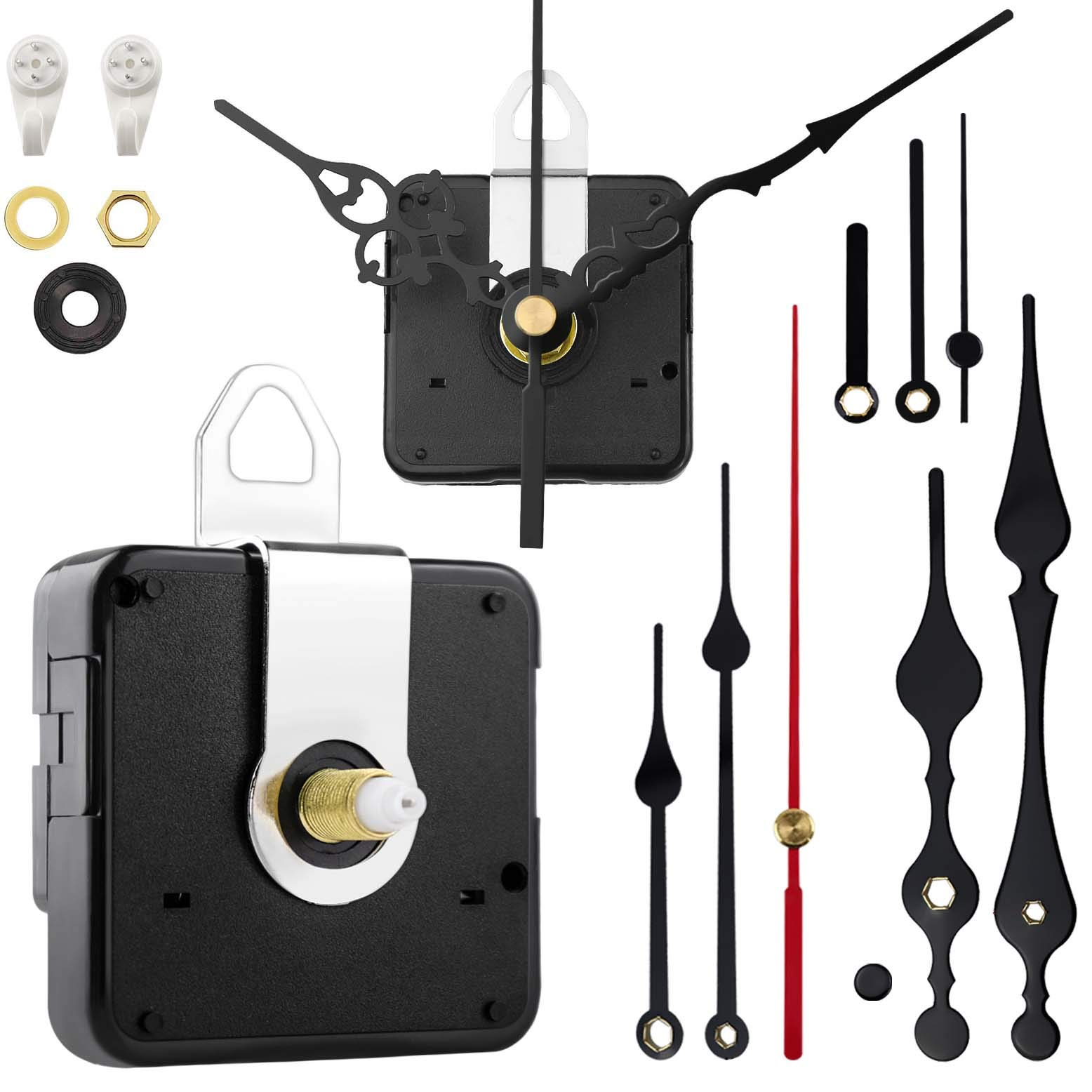 StFlyBro 2 Pieces High Torque Non Ticking Clock Movement Mechanism with 4 Pack Clock Hands, DIY Quartz Clock Motor Kit, Battery Operated Repair Parts Replacement, 7/10in (17.5mm)