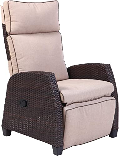 Grand patio Indoor Outdoor Recliner with All-Weather Wicker, Beige Cushion and Integrated Side Table, Mocha Brown