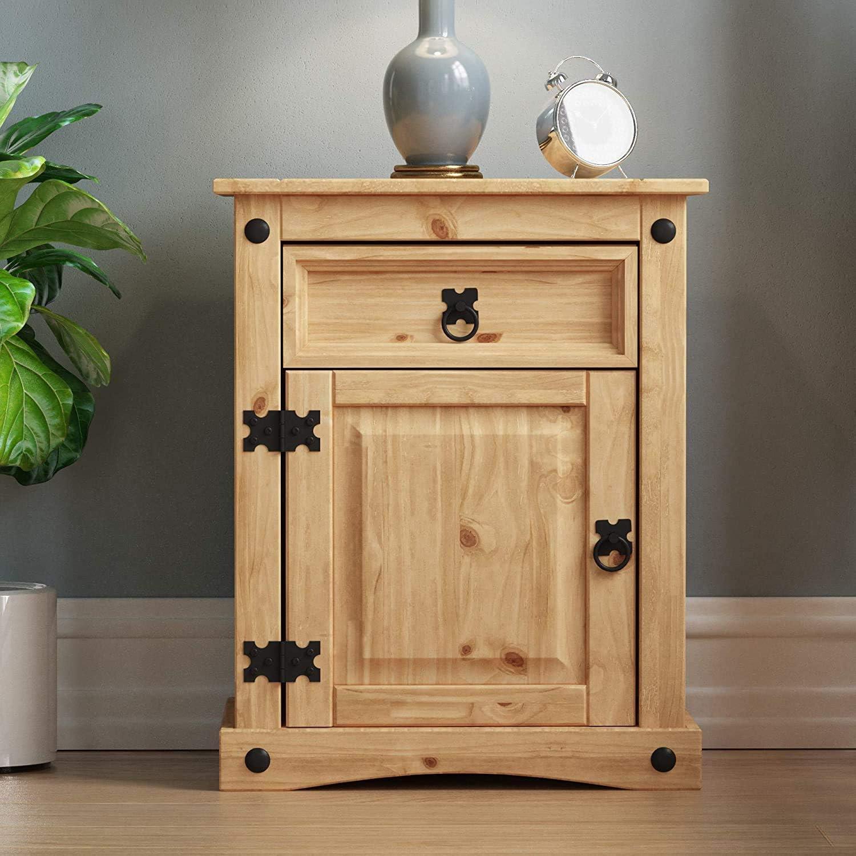 1 Drawer 1 Door None Branded Corona Bedside Cabinet Solid Pine Wood