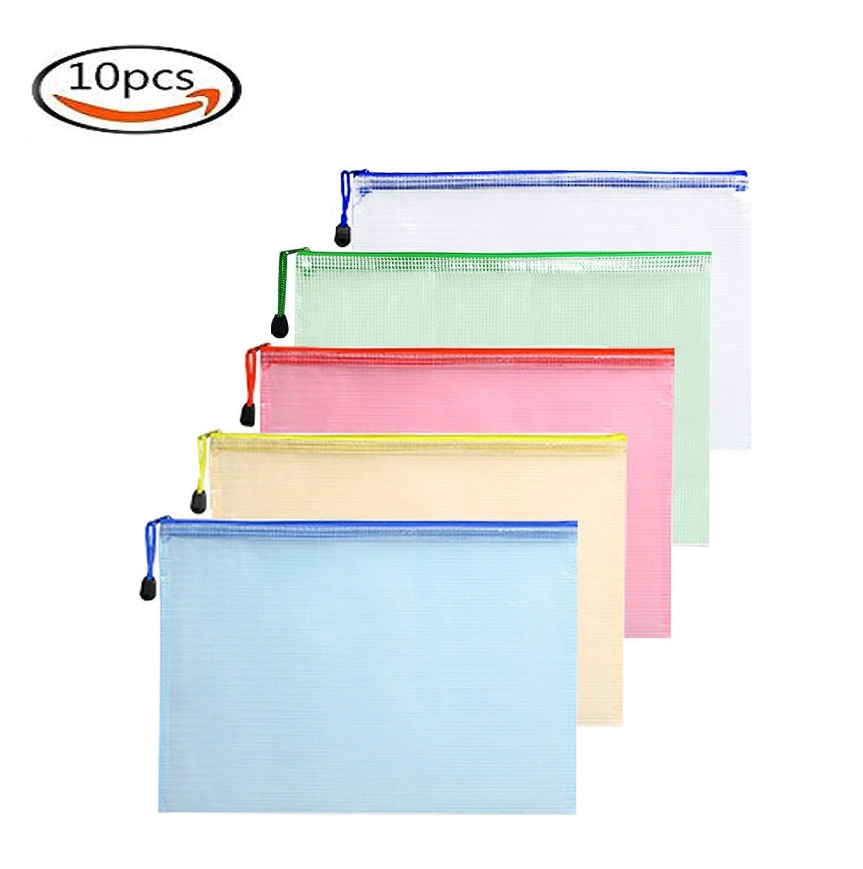 XLONGUI 10pcs Zip File Pocket-A4 Document Pouch File Folder Bag Mesh Storage con cerniera per ufficio/Business / Studio, 5 colori