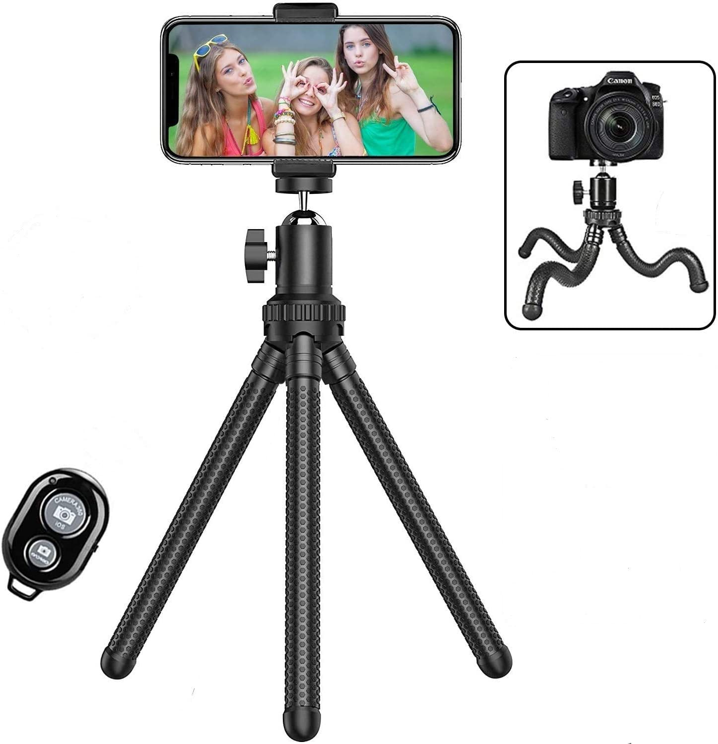 Phone Tripod,Shengsite Portable and Extendable Camera Tripod Stand with Wireless Remote 360°Rotating Adjustable Flexible Cell Phone Tripod Compatible with iPhone, Android Phone, Camera, Sports Camera: Camera & Photo