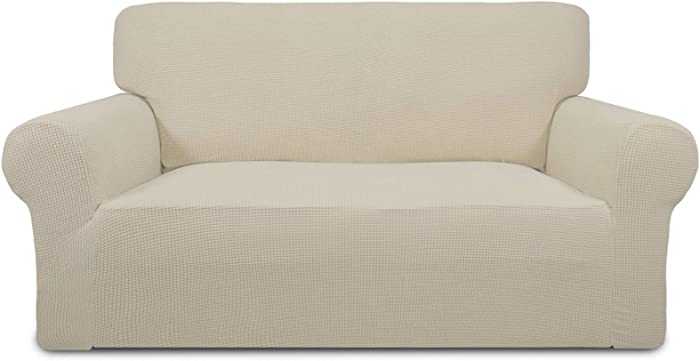Easy-Going Stretch Sofa Slipcover 1-Piece Sofa Cover Furniture Protector Couch Soft with Elastic Bottom Anti-Slip Foam Kids, Spandex Jacquard Fabric Small Checks(loveseat, Ivory