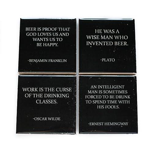 Amazoncom Beer Coaster Set 4 Stone Coasters Drinking Quote Black