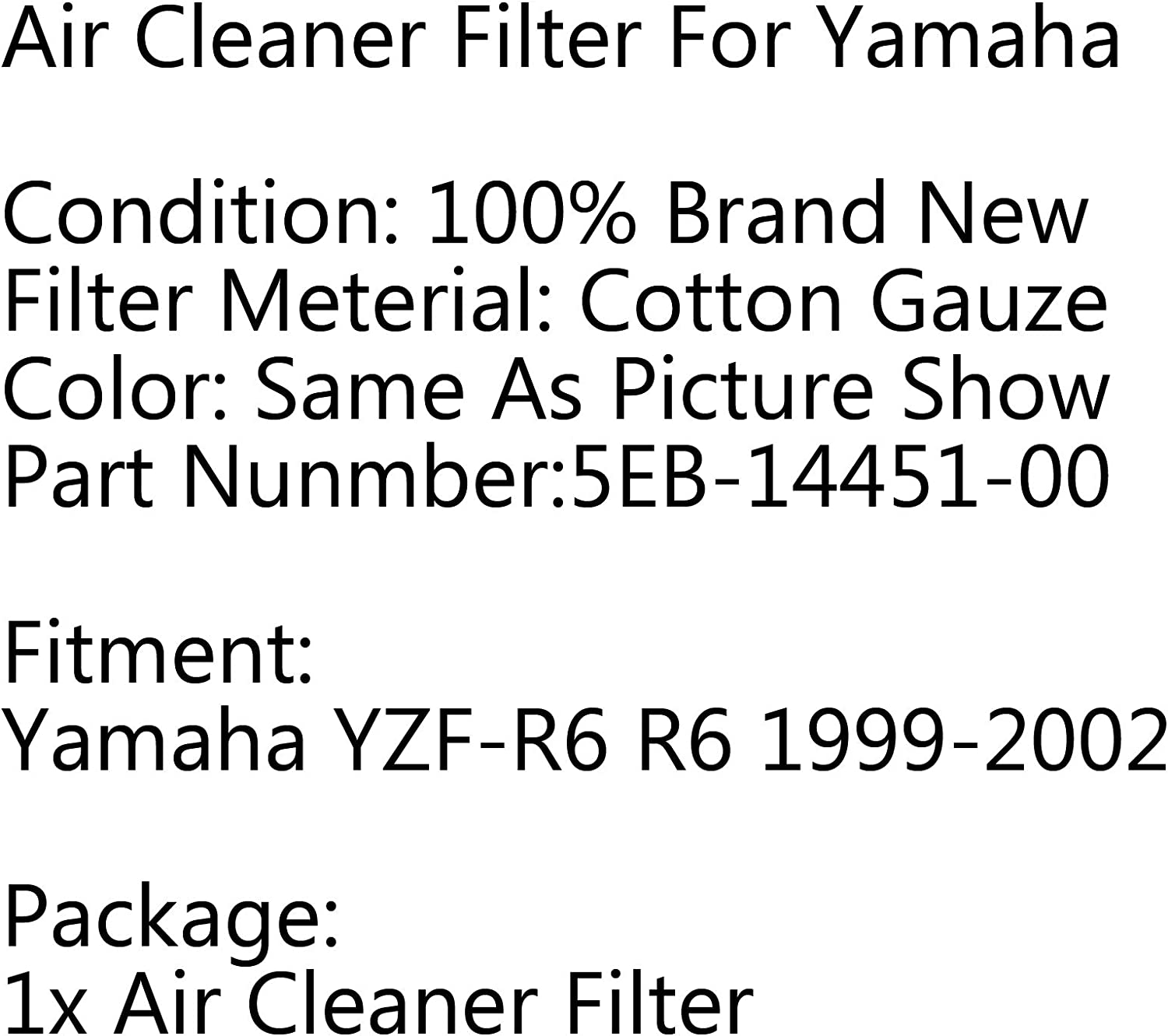 Topteng Air Filter Cleaner Element 5EB-14451-00 for Yama-ha YZF-R6 R6 1999-2002 2001