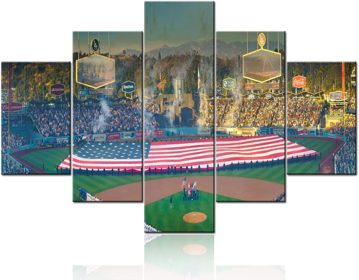 5 Panel Canvas Painting Wall Art Giant US Flag in Dodger Stadium Pictures Los Angeles Dodgers versus Boston Red Sox Framed Artwork Home Decor for Living Room Posters and Prints Stretched Ready to Hang