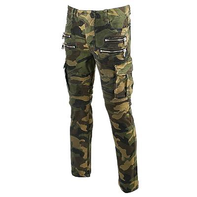 KooL J Mens Panel Biker Cargo Pocket Vintage Camoflage Cotton Denim Slim Jeans at Men's Clothing store