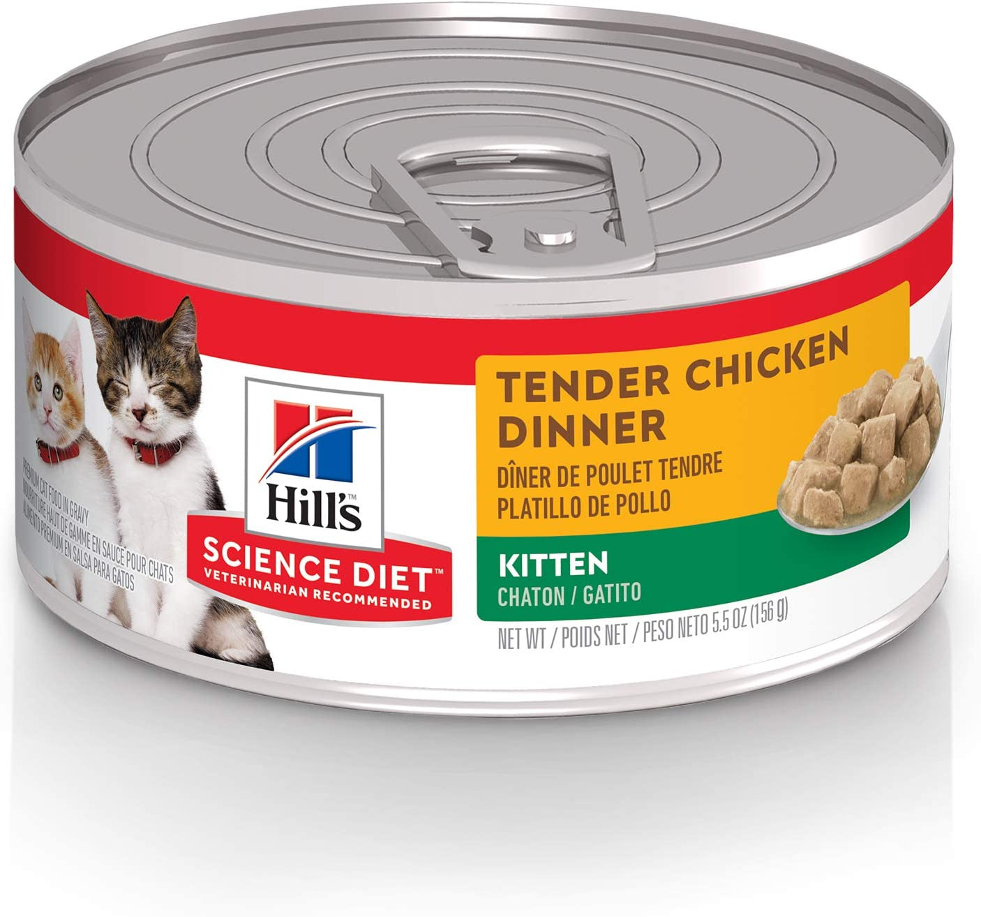 Hill's Science Diet Wet Cat Food, Kitten, Tender Chicken Dinner, 5.5 oz, 24-pack