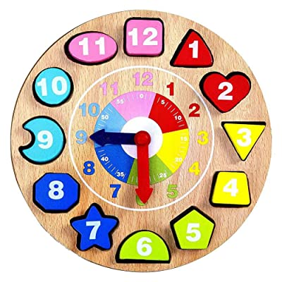 Kpop Space Teaching Clock Wooden Toys Great Montessori Toys for All Children Boys and Girls 1 2 3 4 Year Olds - Quality Guaranteed: Toys & Games