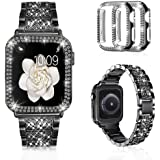 Mosonio Compatible with Apple Watch Band 40mm with Case Women, Jewelry Replacement Metal Wristband Strap with 2 Pack Bling PC