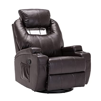 SUNCOO Massage Recliner Bonded Leather Chair Ergonomic Lounge Heated Sofa  with Cup Holder 360 Degree Swivel Manual Recliner-Brown-11 in 1