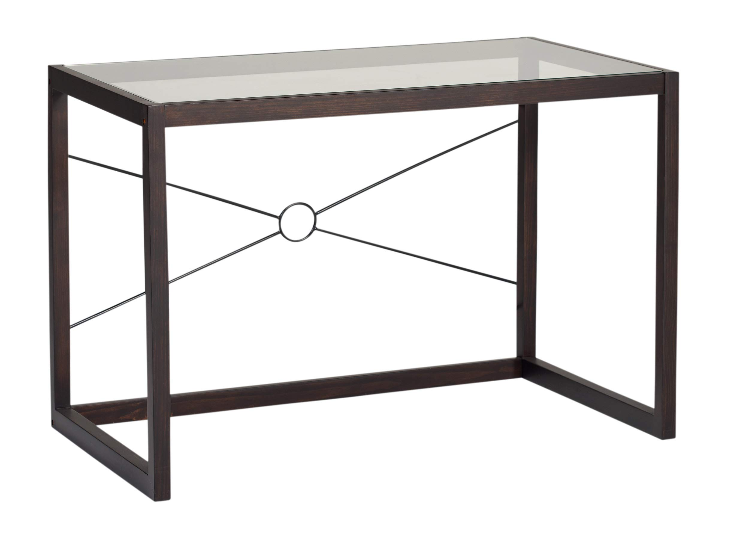 Studio Designs Home Office Newel 48''W Wood and Glass Writing Desk, Java/Clear Glass Finish by Studio Designs Home
