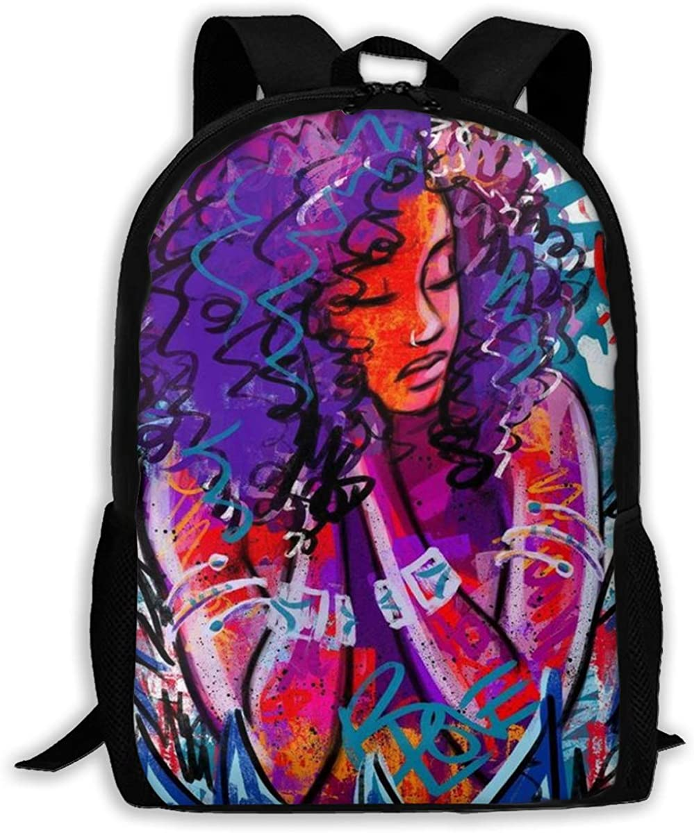 African American Black Woman Girl Abstract Graffiti Print Laptop Bookbag, Business Bag Travel, Waterproof Anti-Theft Unisex Classic Lightweight College Schoolbag Fits 15-inch Computer Backpack