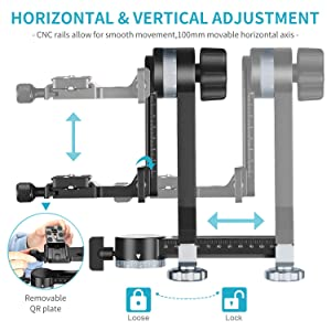 Neewer Professional Metal Gimbal Tripod Head 360° Panoramic Head with 100mm Movable Horizontal Axis, Arca-Swiss Standard QR Plate and Bubble Level for Digital SLR Cameras up to 33lbs/15kg (Color: Pro Horizontal Version-Aluminium)