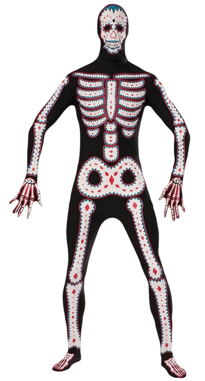 Zauberclown Herren Day of the Dead Kostüm, Jumpsuit, Halloween, Mehrfarbig, One Größe