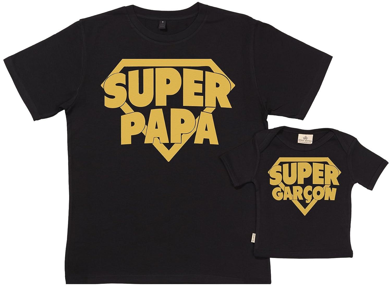 SR - dans Une Boîte Cadeau - Super Papa & Super Garçon - dans Notre Boîte-Cadeau - Cadeau pour Un Père et Bébé - Père t-Shirt et t-Shirt Bébé Ensemble FRSR11