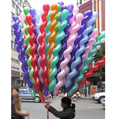 FUNPRT 40 Inches Latex Spiral Balloons 100 Count Assorted Boys Girls Birthday Party Balloons: Health & Personal Care