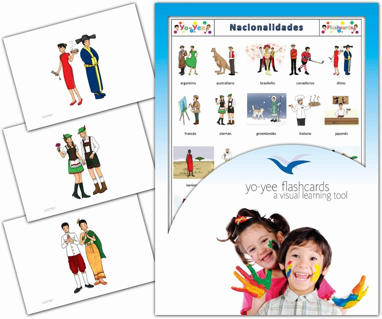 Amazon Com Tarjetas De Vocabulario Nacionalidades Spanish Nationalities Flashcards For Kids Toys Games
