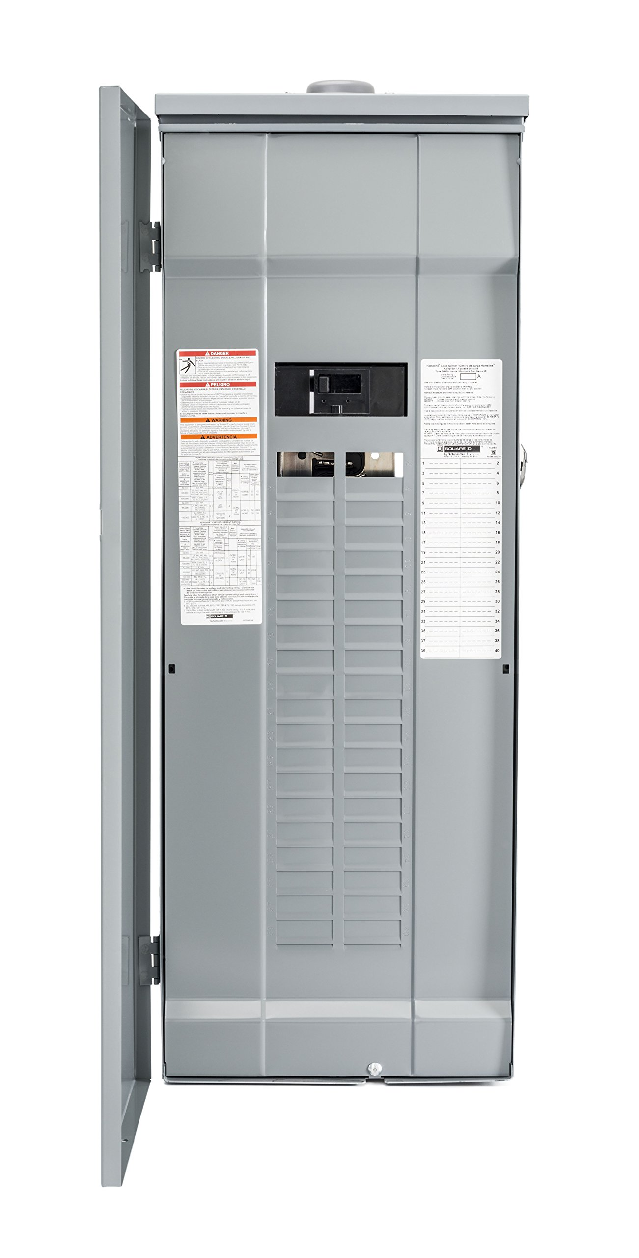 Square D by Schneider Electric HOM4080M200PRB Homeline 200 Amp 40-Space 80-Circuit Outdoor Main Breaker Load Center (Plug-on Neutral Ready),