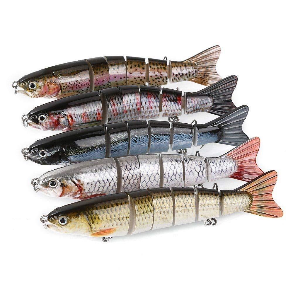 KM Mart 5 Pcs. Fishing Lures Hard Baits Vivid Segment Swimbait Bass Crankbaits 2 Hooks US, Fishing baits