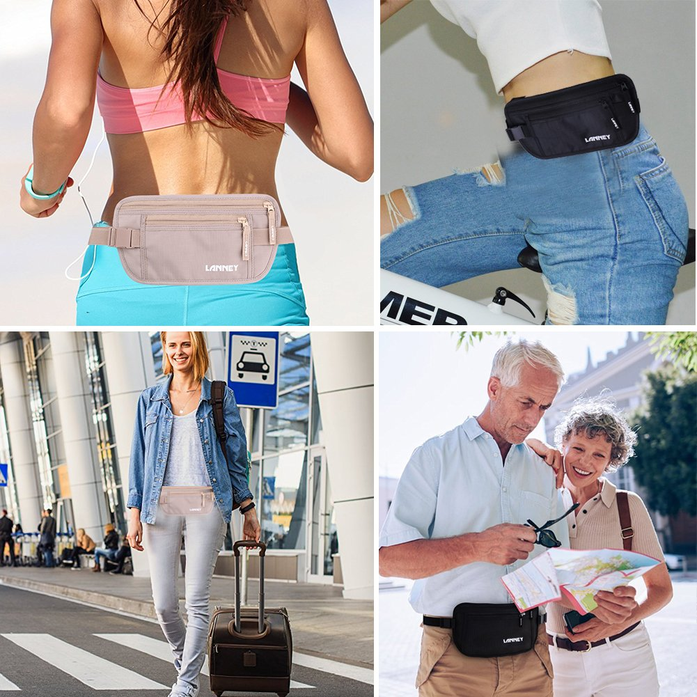 Travel Money Belt Blocking Wallet For Credit Card & Passport Holder With 2pcs RFID Sleeves (Black) by LANNEY (Image #7)