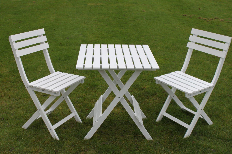 Set Bistro de jardín \'Dover\' de madera blanca - Mesa de jardín ...