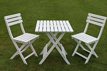 Wooden White Garden Bistro Set Folding Garden Table 2 Folding