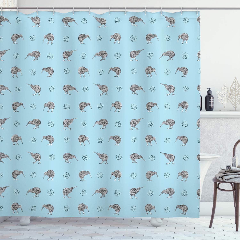 Ambesonne Grey Blue Shower Curtain, Kiwi Birds Indigenous New Zealand Animals Doodle Style Tropical Wildlife, Cloth Fabric Bathroom Decor Set with Hooks, 70