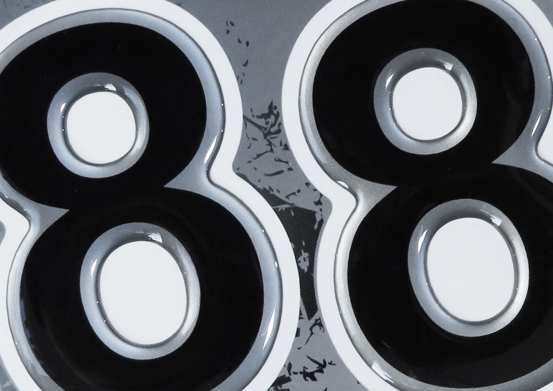 exzellenter Wetterschutz 910042-2x Nummer 8 Set Silber keine billigen Folienaufkleber Startnummer-Aufkleber 3D gro/ße Zahlen Motorrad Auto Fenster ca 49 x 73 mm