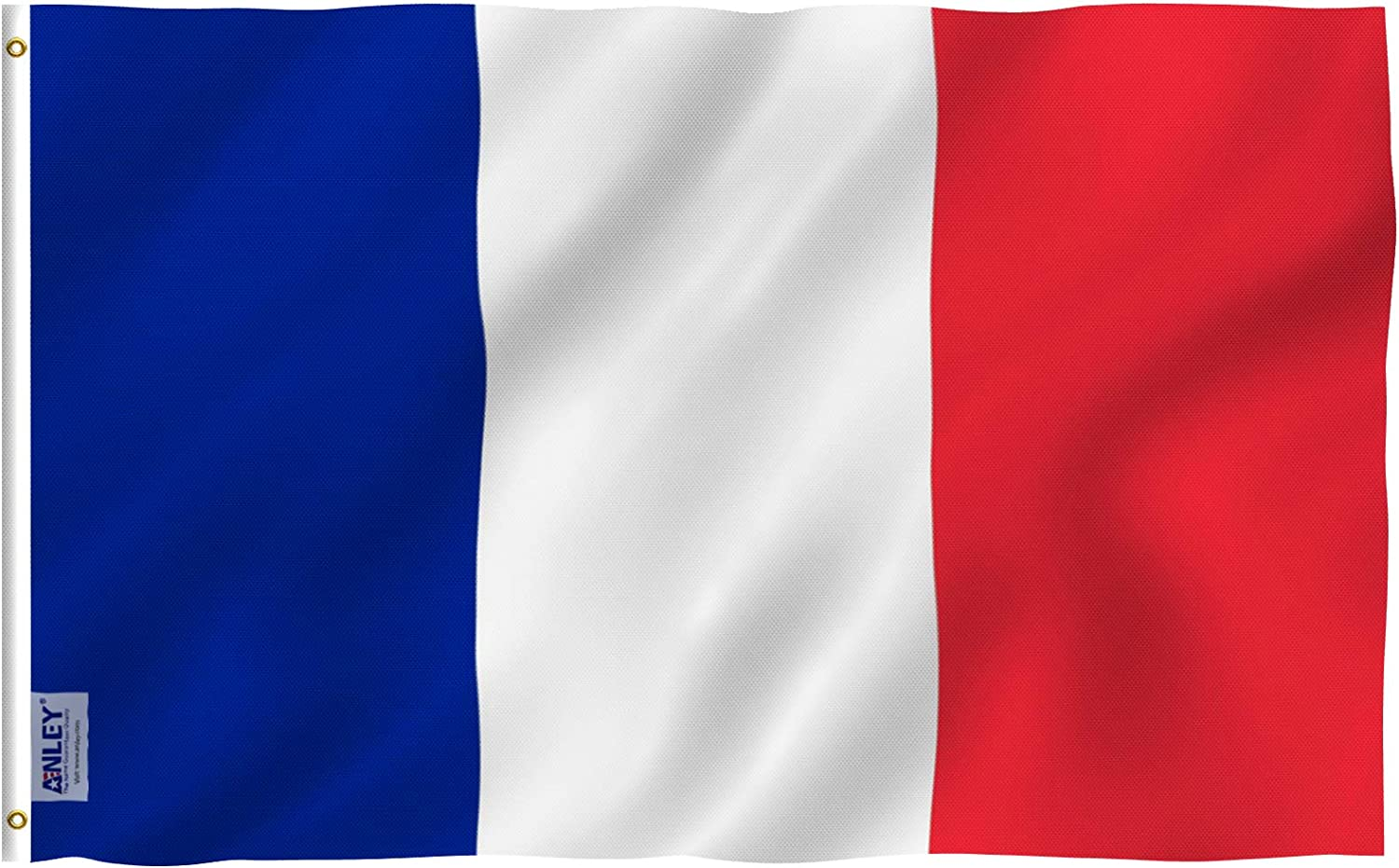 Anley Fly Breeze 3x5 Foot France Flag - Vivid Color and Fade Proof - Canvas Header and Double Stitched - French National Flags Polyester with Brass Grommets 3 X 5 Ft