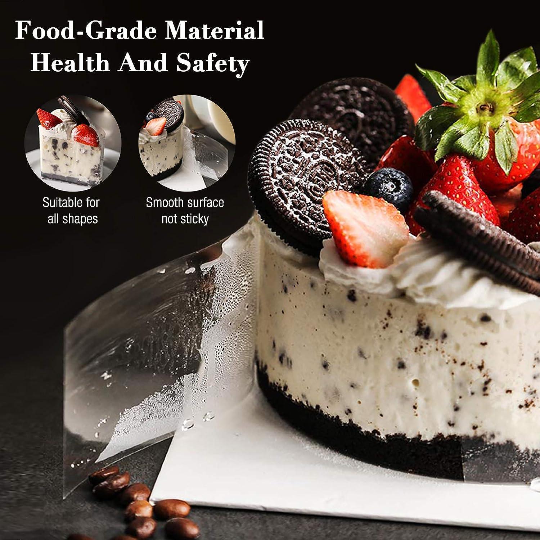 Cake Decorating 10cm*10m, 15cm *10m Jooheli 2 PCS Cake Collars Acetate Roll Acetate Cake Strips Transparent Roll Mousse Cake Sheet for Cake Chocolate Mousse