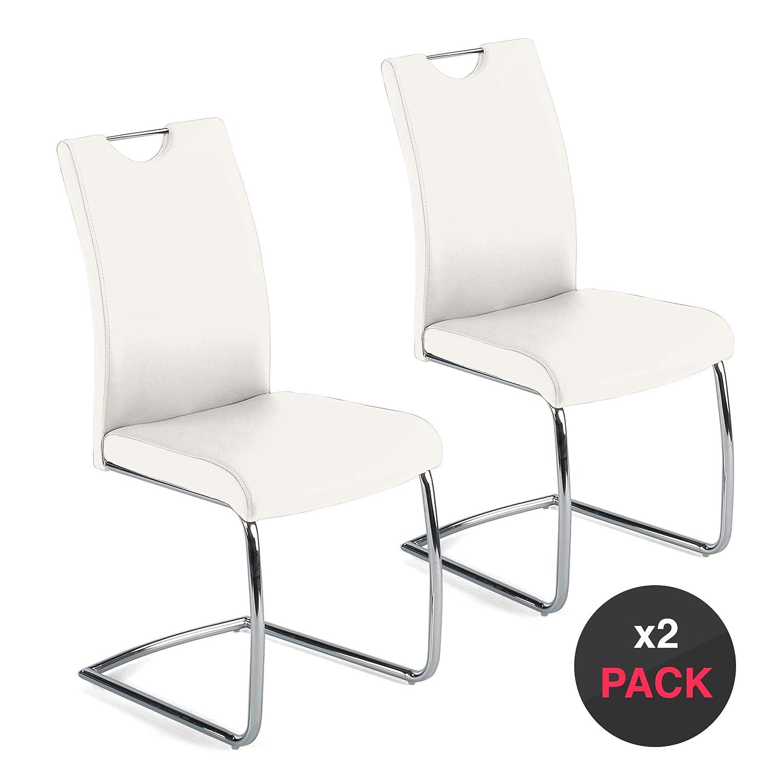 dicoro Pack 2 sillas tapizadas Diva Patin Base cromada ...