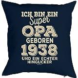 zum 80 Geburtstag Geschenkidee Kissen mit Füllung super Opa geboren 1938 Polster zum 80. Geburtstag für 80-jähirge Dekokissen