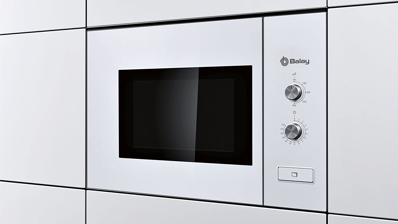 Balay 3WM360BIC Serie Cristal - Microondas integrables con plato giratorio y apertura de puerta con botón, 800 W, blanco, 20 L