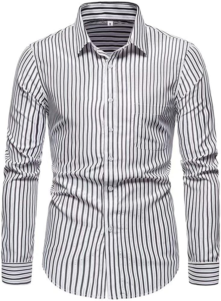 SZMXSS Dress Shirts for Men's Business Long Sleeve Button Pocket Striped Shirt