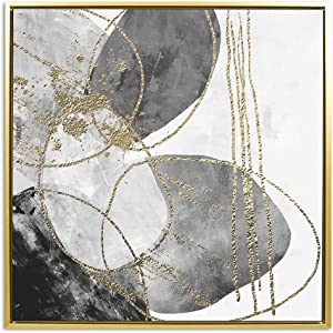 """Fabulous Décor - Large Gold and Grey Glitter Foil Circles Modern Print Artwork Framed on Canvas Striking Wall Art for Home Office Decoration 23.6""""X23.6"""""""