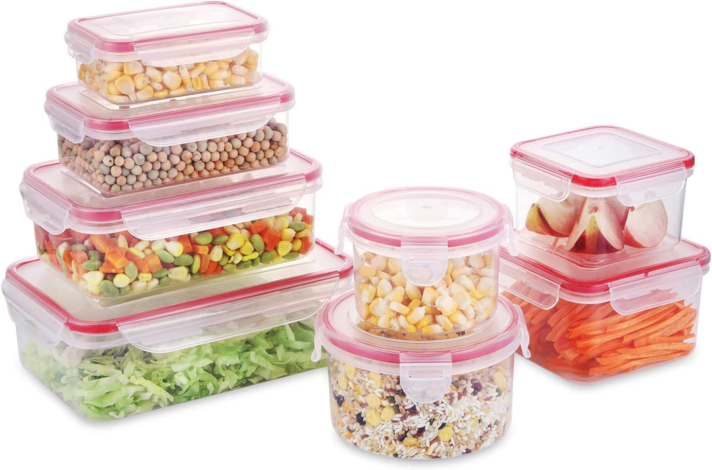 Fresh Friend Food Storage Containers with Lids BPA Free, Plastic Airtight Meal Prep Containers for Lunch, Stackable Kitchen Storage Containers for Food, Set of 8