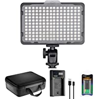 Neewer 176 LED Video Light Lighting Kit: Dimmable 176 LED Panel, with 2200mAh Li-ion Battery, USB Battery Charger and…