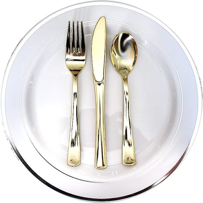 Cubertería Plástico Dorado 180 Piezas Reutilizables 60 Set de Tenedores, Cuchillos y Cucharas - Resistente para Fiestas, Bodas y BBQ - Kit de Utensilios Completo: Amazon.es: Hogar