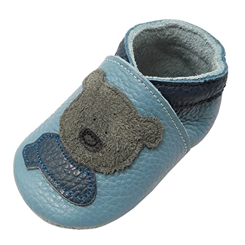 23c1fe128b1 YIHAKIDS Soft Sole Baby Shoes Infant Toddler Leather Moccasins Cute Bear  Slippers (7-7.5