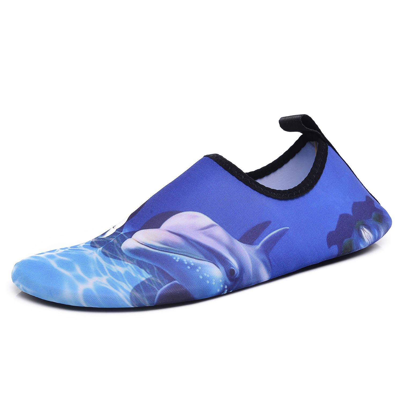 RUNSOON Womens Mens Swim Water Shoes Soft Anti-Slip Barefoot Aqua Socks for Pool Yoga Exercise, Dolphin W 7-7.5 / M 6-6.5