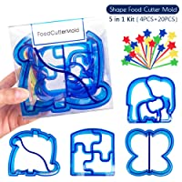 Coardor Sandwich Cutters for Childern 5 in 1 kit Lattice Pastry Cutters Shape for Kids Fondant Mold Lunch Punch Dinosaur & Butterfly & Elephant & Puzzle Cutter with Fruit Forks 20 pieces for Party DIY