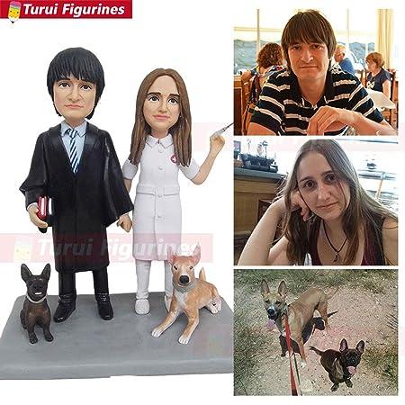 Enfermera casamiento figura con sus dos perros figura escultura ...