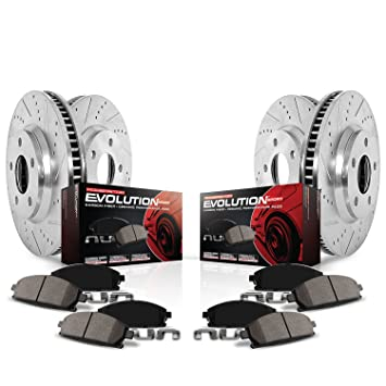 Power Stop K6495 Front & Rear Brake Kit with Drilled/Slotted Brake Rotors  and Z23 Evolution Ceramic Brake Pads