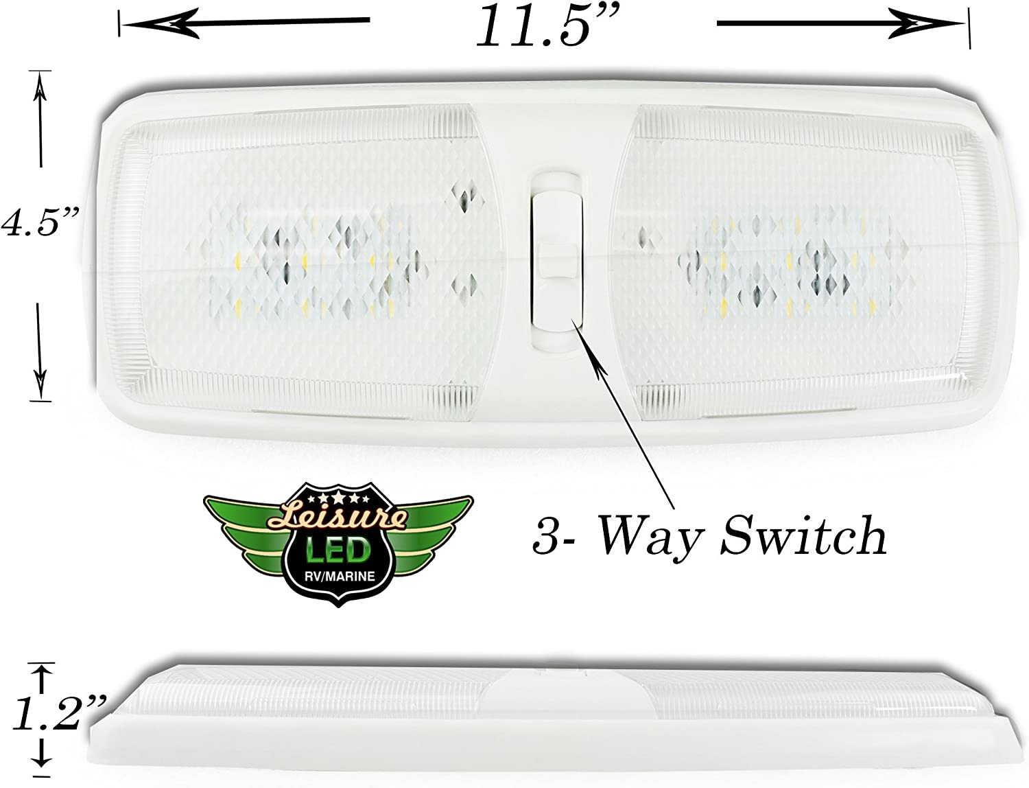 Camper Single Dome 5-Pack, Warm White 3000-3500K 5 Pack RV LED Slim Euro Ceiling Single Dome Light Fixture with ON//Off Switch Interior Lighting for Car RV Boat DC 10-18V Trailer