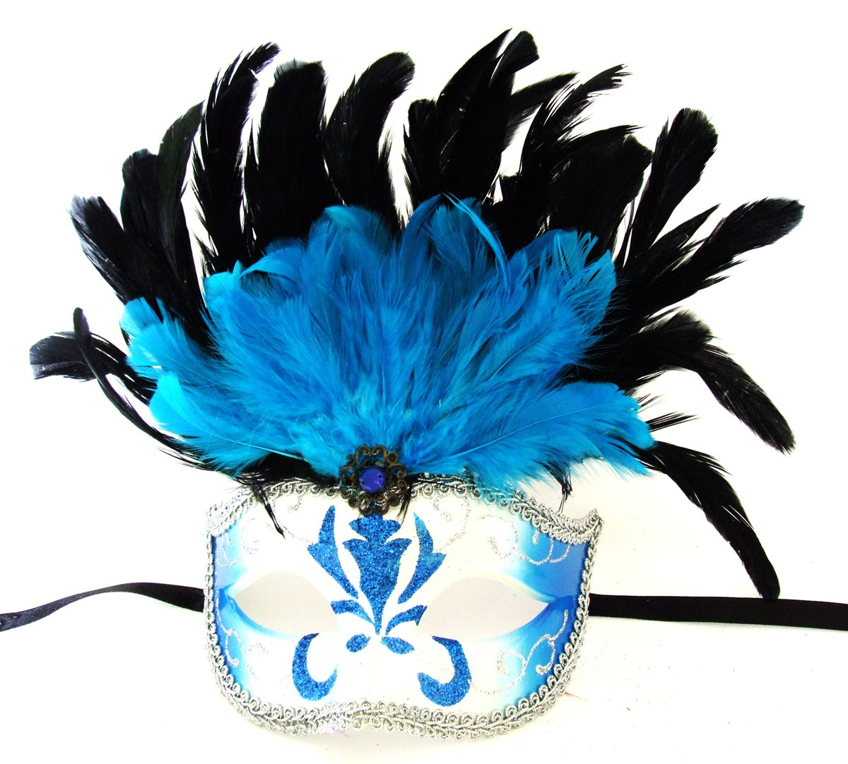 Feather Topper Blue Feather Mask Venetian Mardi Gras Party Halloween Prom