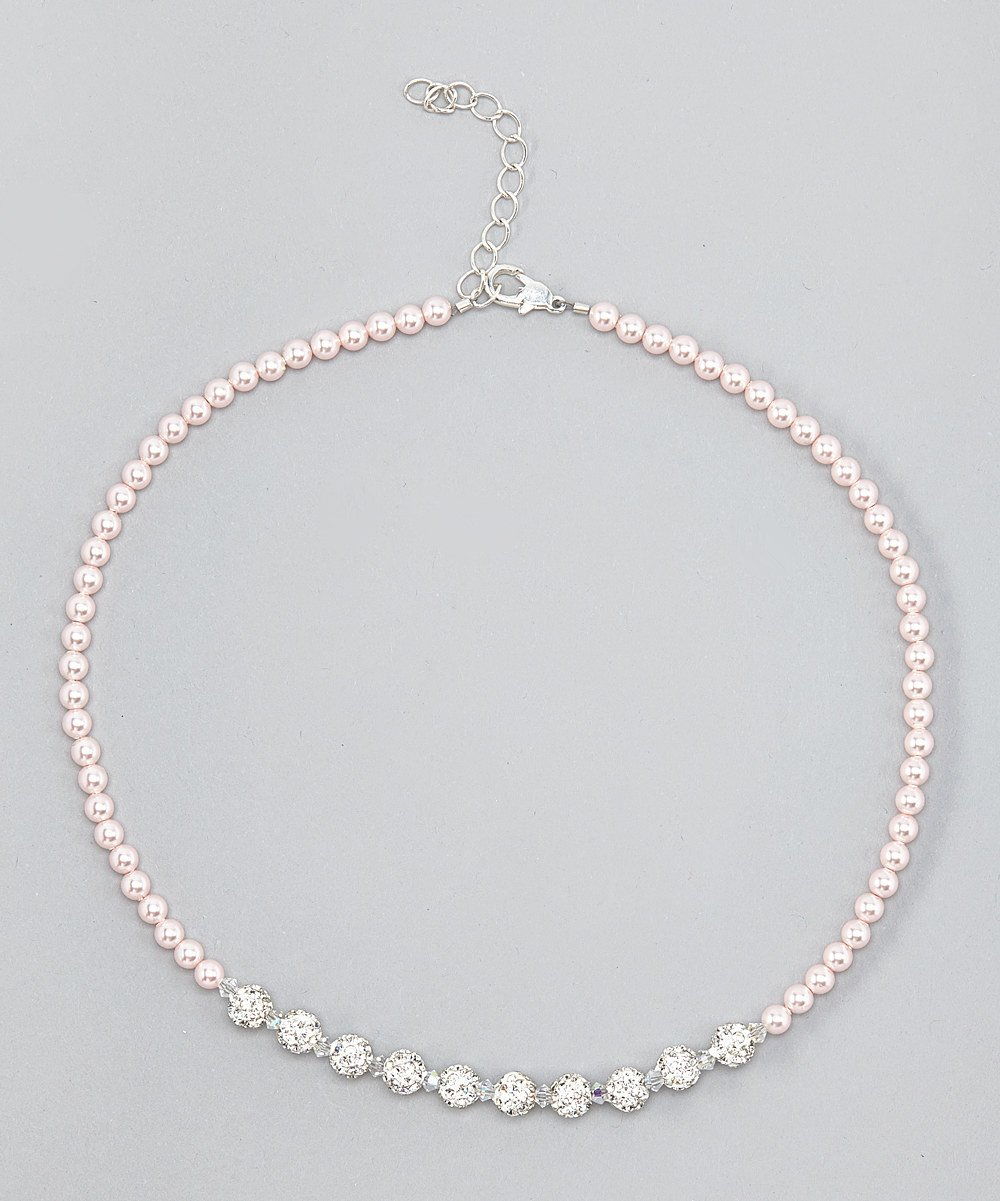 Tooter Luxury Sparkly Sterling Silver Child Necklace Made with Pink and White Swarovski Crystals and Pearls (NSWP)