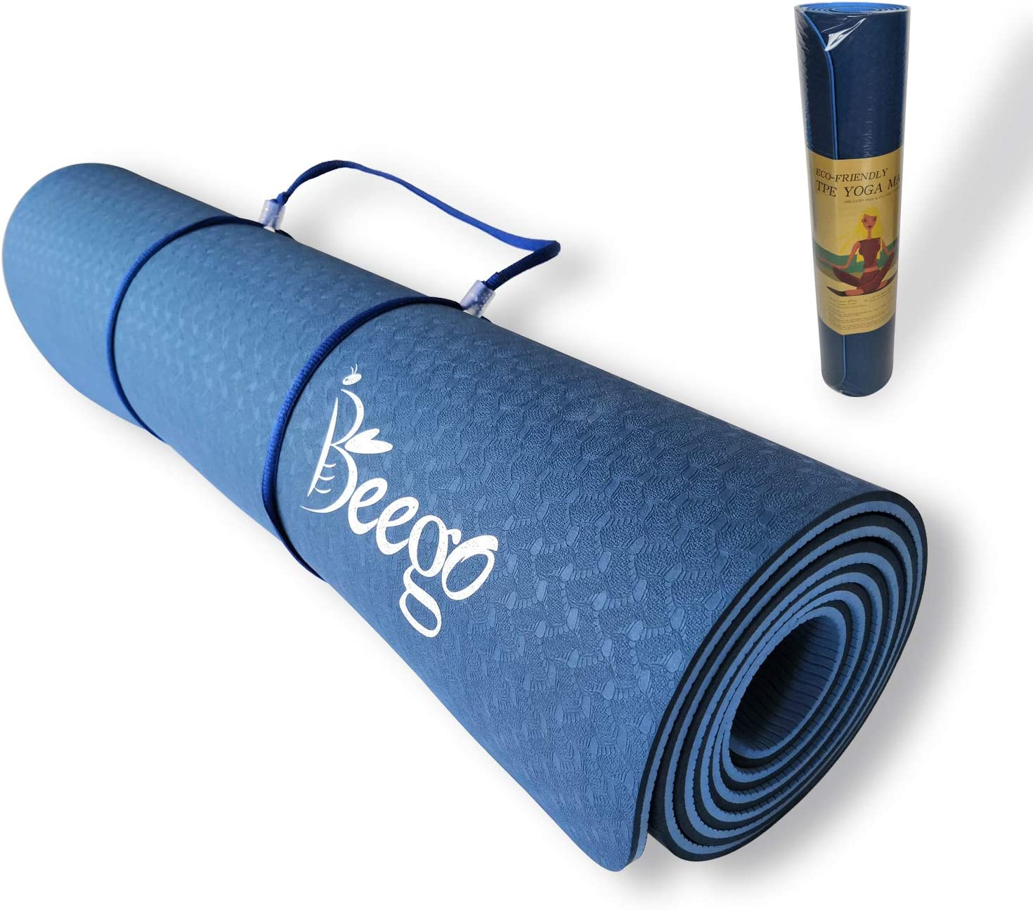 Beego Yoga Mat-Eco Friendly TPE Non Slip Yoga Mat Workout Mat for All Type of Yoga,Pilates and Floor Exercises Classic 1/4 inch Thick Fitness Exercise ...