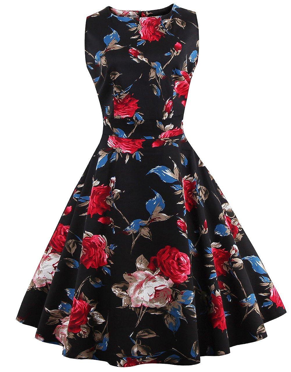 TALLA XL. FAIRY COUPLE 50s Vestido de Partido Floral Retro del Oscilación del Cóctel del Vintage con el Arco DRT017 Negro Azul Rojo XL