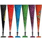 Janolia Temporary Tattoo Set, 6Pcs Cones with Three Colors, 20Pcs Adhesive Stencil, 1Pcs Bottle, 4Pcs Nozzles (Black…