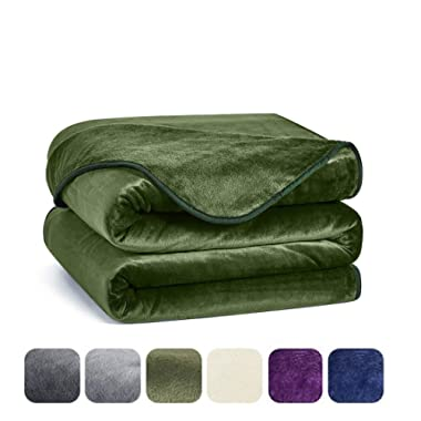 Charm Heart Queen Fleece Blanket,Warm Soft Blanket Queen Size Luxury Velour Blanket for Bed Green Queen-Size,90x90 Inches